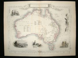 Australia: 1852 Antique Map. Decorative. Tallis Rapkin